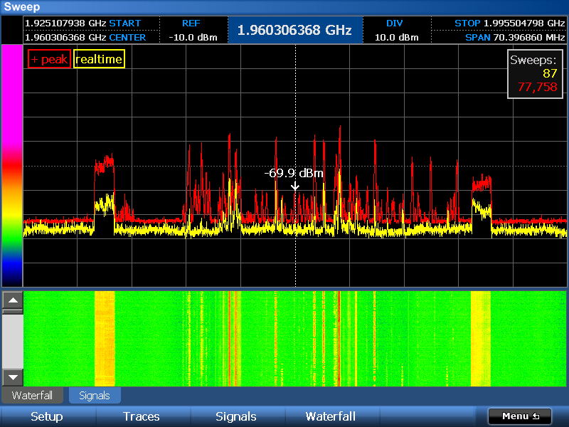 Просмотр растровой спектрограммы